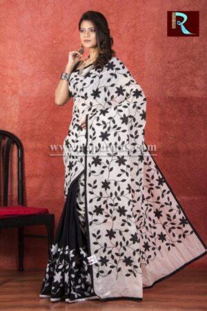Applique work on BD Cotton Saree1