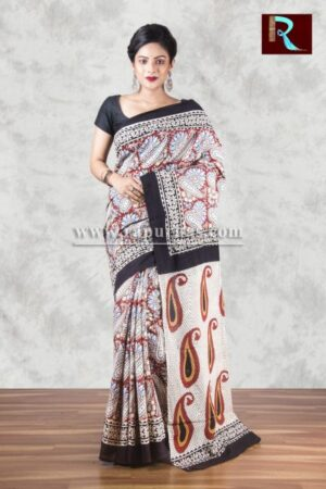 Bagru Printed Hand block on pure cotton Saree of awesome design1