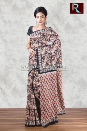 Bagru Printed Hand block pure cotton Saree1