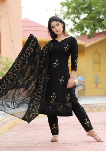 Black Kurti set with Dupatta