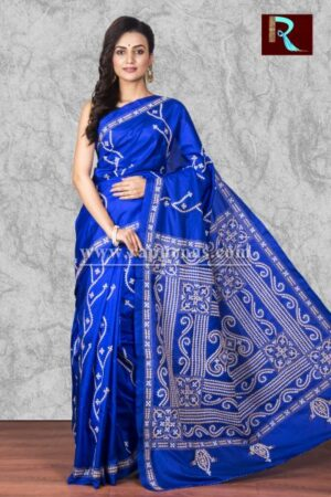 Blue Gujrati Stitch work Saree on Bangalore Silk