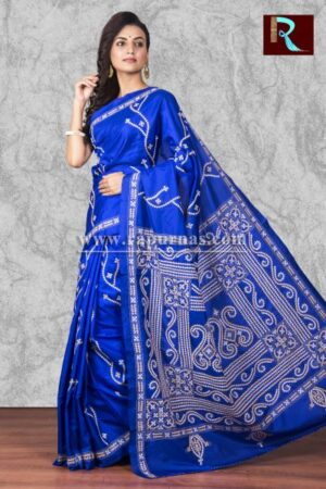 Blue Gujrati Stitch work Saree on Bangalore Silk1