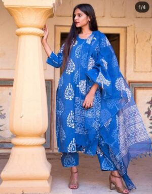 Blue Kurti Pant set with Udni