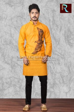 Cotton Kurta with Eagle painting