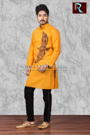 Cotton Kurta with Eagle painting1