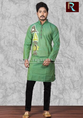 Cotton Kurta with unique fabric painting1