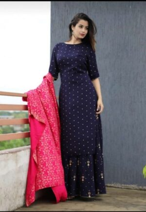 Deep Blue Kurti Skirt set with Pink Dupatta