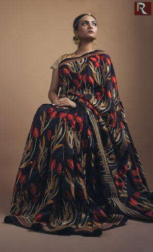 Designer Saree with Tulip all over