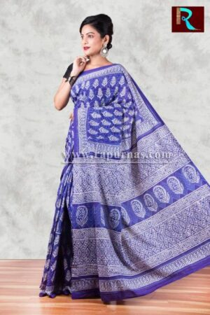 Ethnic Bagru Printed Hand block on pure cotton Saree