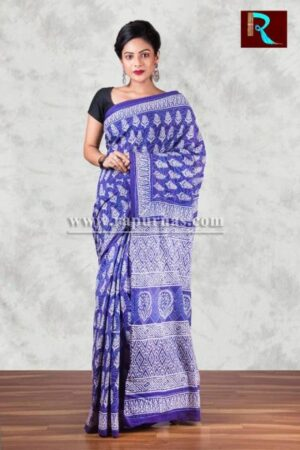 Ethnic Bagru Printed Hand block on pure cotton Saree1