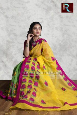 Fancy Kachhi Kathiawari work on BD Cotton Saree