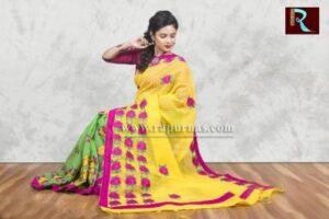 Fancy Kachhi Kathiawari work on BD Cotton Saree1