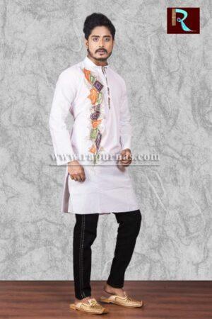 Fancy White Cotton Kurta with Fabric painting