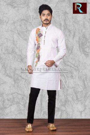 Fancy White Cotton Kurta with Fabric painting1
