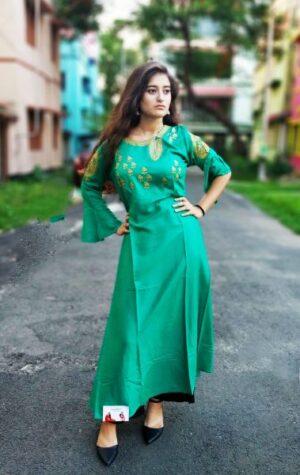 Green Rayon Kurti1