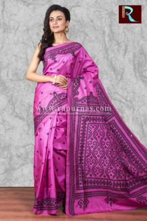 Gujrati Stitch work Saree on Bangalore Silk of amazing color