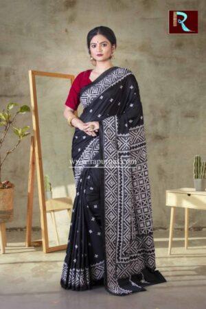 Gujrati Stitch work on Art Silk Saree of Black color