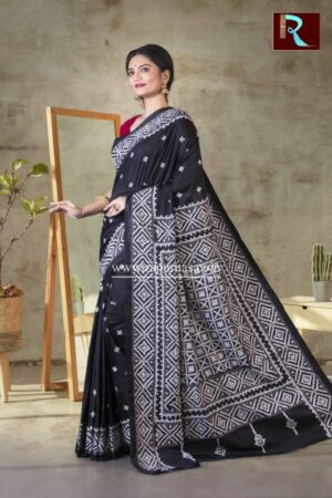 Gujrati Stitch work on Art Silk Saree of Black color1