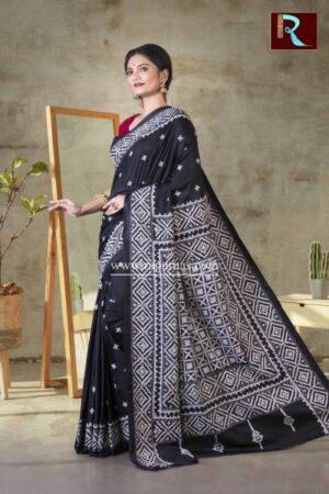 Gujrati Stitch work on Art Silk Saree of Black color1