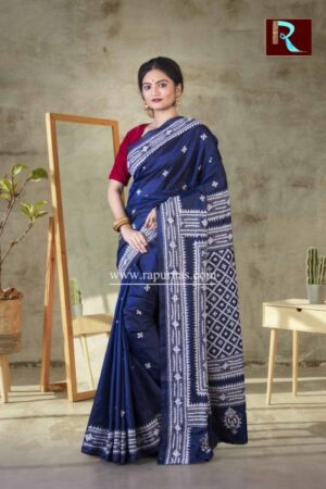Gujrati Stitch work on Art Silk Saree of Blue color