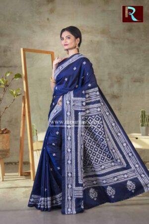 Gujrati Stitch work on Art Silk Saree of Blue color1