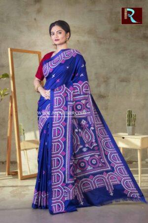 Gujrati Stitch work on Art Silk Saree of Deep Blue color1