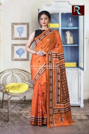 Gujrati Stitch work on Art Silk Saree of Orange color