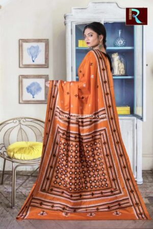 Gujrati Stitch work on Art Silk Saree of Orange color1