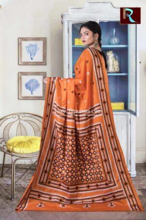 Gujrati Stitch work on Art Silk Saree of Orange color1