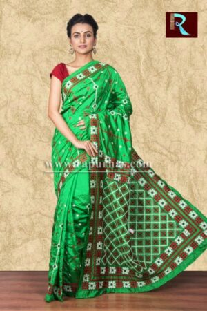 Gujrati Stitch work on Art Silk Saree of bright green color