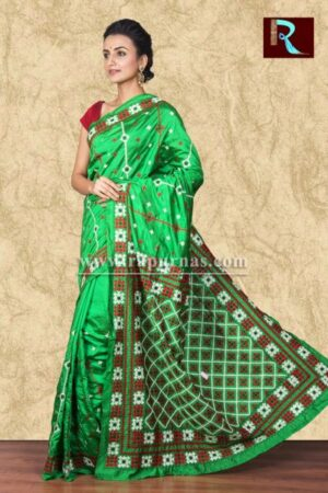 Gujrati Stitch work on Art Silk Saree of bright green color1