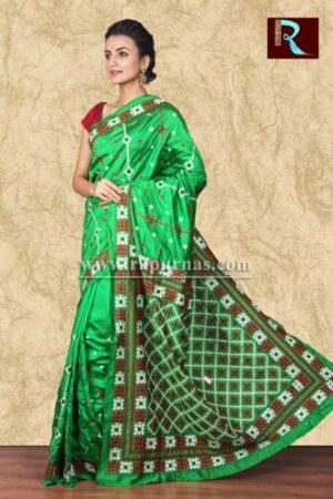 Gujrati Stitch work on Art Silk Saree of bright green color1