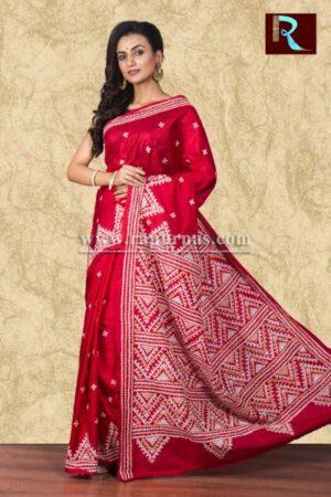 Gujrati Stitch work on Bangalore Silk Saree of red color1