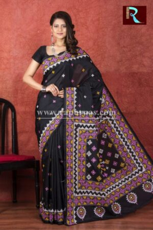 Gujrati Stitch work on Blended Silk Saree
