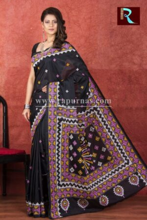 Gujrati Stitch work on Blended Silk Saree1