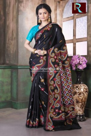 Gujrati Stitch work on Pure Bangalore Silk Saree of Black and yellow combo