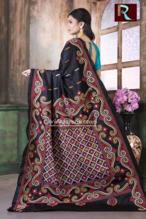 Gujrati Stitch work on Pure Bangalore Silk Saree of Black and yellow combo1