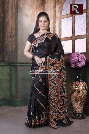 Gujrati Stitch work on Pure Bangalore Silk Saree of Black color2