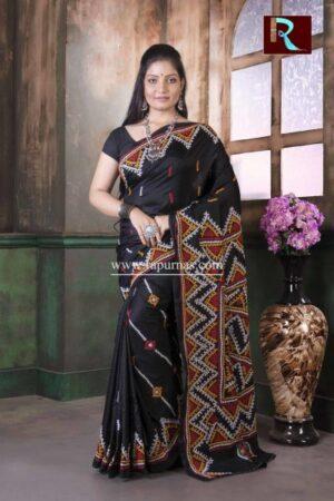 Gujrati Stitch work on Pure Bangalore Silk Saree of Black color2