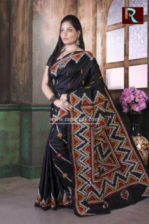 Gujrati Stitch work on Pure Bangalore Silk Saree of Black color3