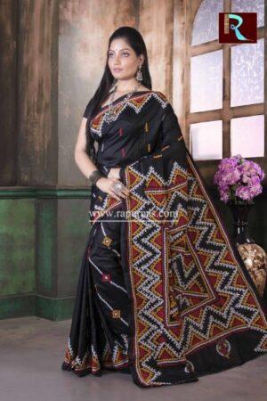 Gujrati Stitch work on Pure Bangalore Silk Saree of Black color3