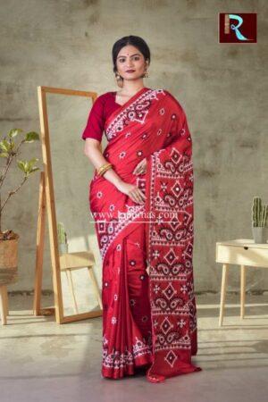 Gujrati Stitch work on Pure Bangalore Silk Saree of Red color