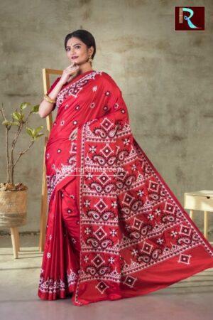 Gujrati Stitch work on Pure Bangalore Silk Saree of Red color1