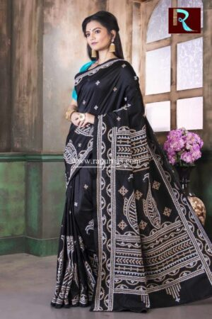 Gujrati Stitch work on Pure Bangalore Silk Saree of black color1