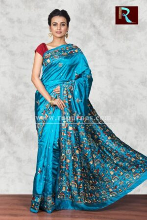 Hand Ari work on Art Silk Saree of sky blue color