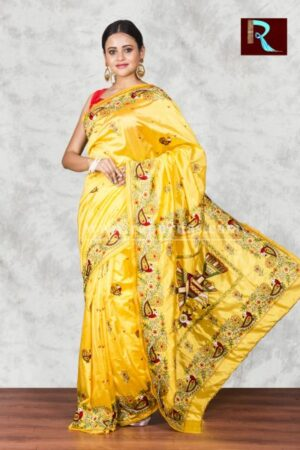 Hand Ari work on Art Silk Saree of yellow color
