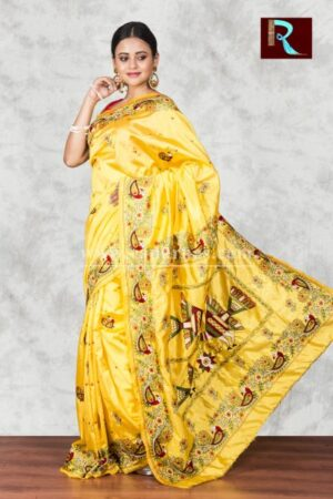Hand Ari work on Art Silk Saree of yellow color1