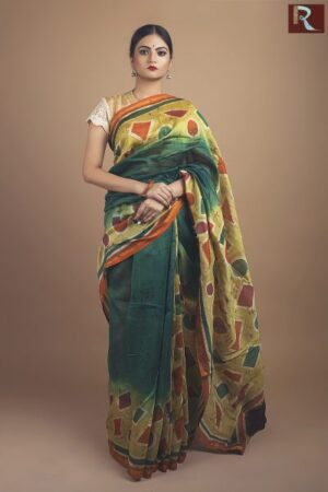 Hand Batik on pure Chanderi Silk Saree