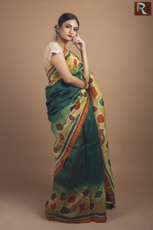 Hand Batik on pure Chanderi Silk Saree2