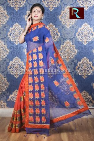 Kachhi Kathiawari work on BD Cotton Saree of amazing color and design
